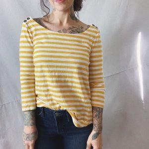BANANA REPUBLIC Yellow Stripe Boatneck Tee